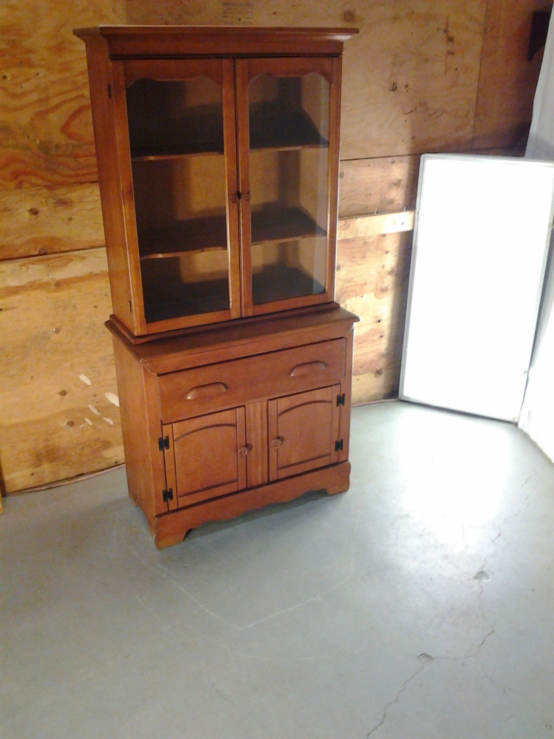 Wooden China Hutch ~ Vintage midcentury wooden curio cabinet hutch china closet