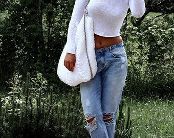 White Summer Sweater, Cotton Sweater, Knit Sweater, Crop Sweater, Short Sweater, Opne Waves Sweater, Loose Knit Sweater