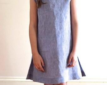 Sleeveless linen dress for girl-French handmade, childrens clothing