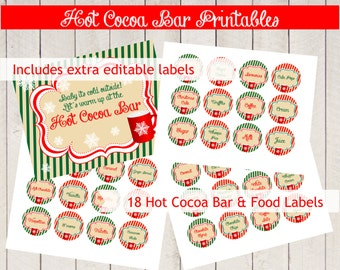 HOT COCOA BAR Kit Printables, circles, digital Pdf, favor or product labels, you print, editable labels