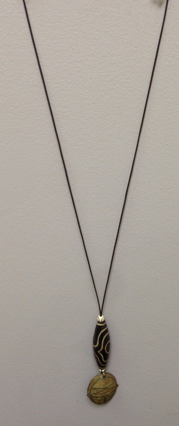 African Mask Cord Necklace