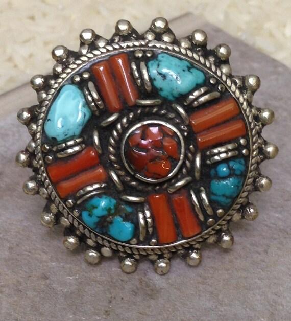 Tibetan Coral Turquoise Silver Ring Handmade Handcrafted Tibet Red Coral Turquoise Beads Statement Unique Wisdom Power Stone.