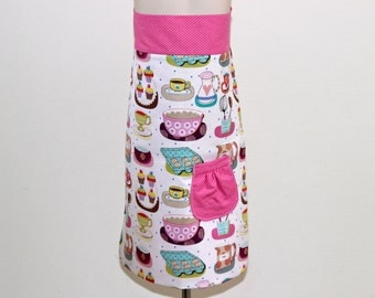 Mommy and Me Apron Set (Pink polka dot and white breakfast time pattern)