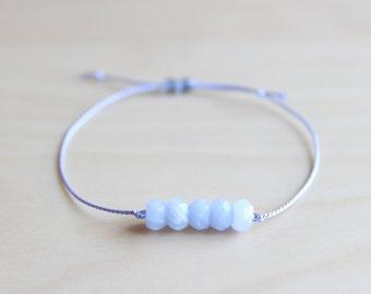 Dainty blue agate bracelet / silk thread bracelet / friendship bracelet / dainty jewelry / wish bracelet