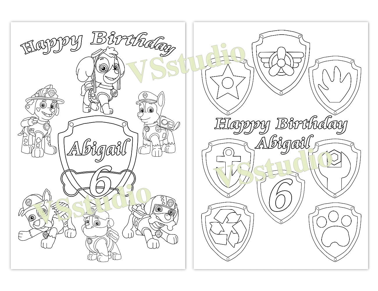 paw patrol personalized birthday party printable favor