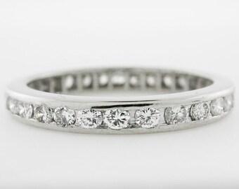 Platinum Diamond Eternity Band, Anniversary Ring, Wedding Band - 30 Round Diamonds