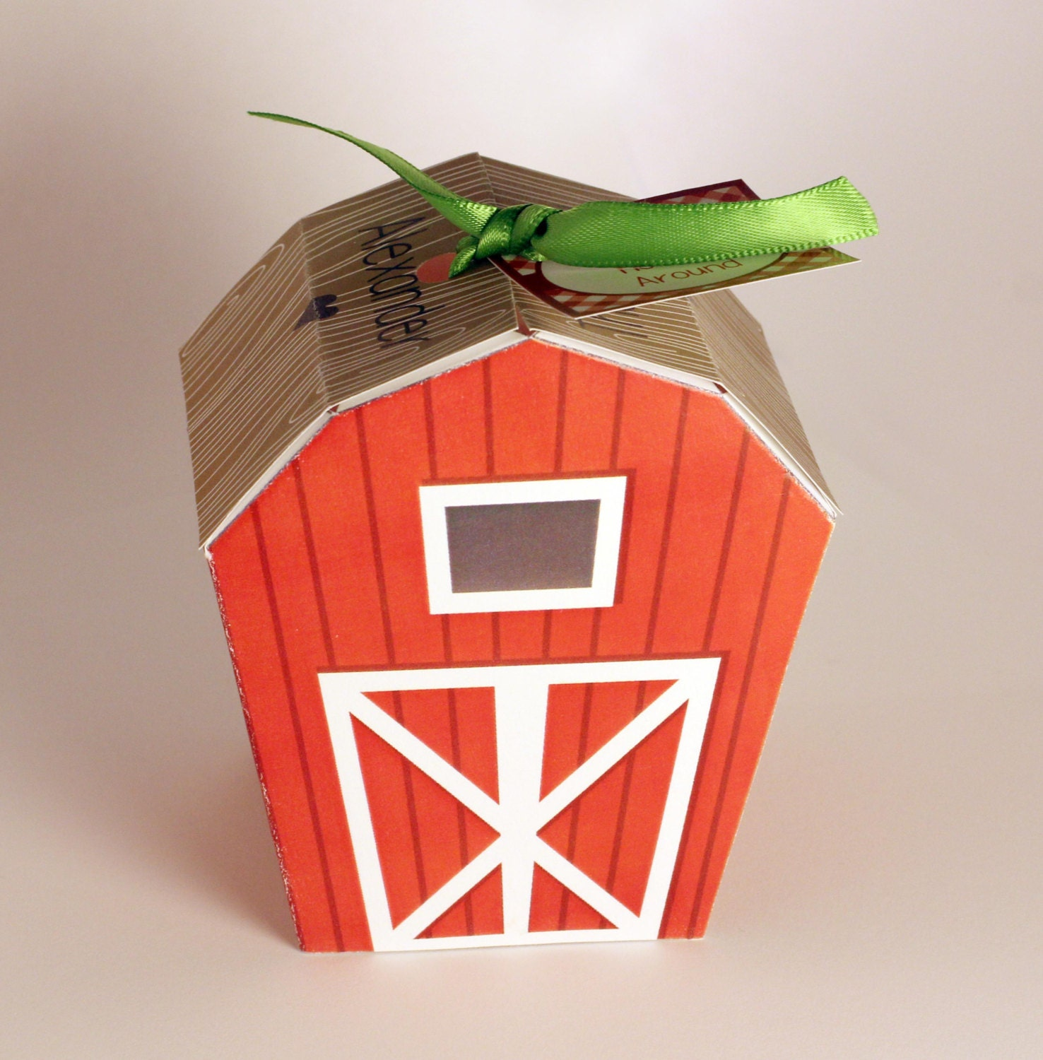 Instant Download Barn Favor Box Farm Party Decoration Gift