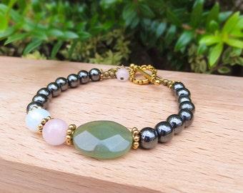Fertility Bracelet - Fertile Recharged, Aventurine, Hematite, Rose Quartz and Moonstone, infertility jewelry