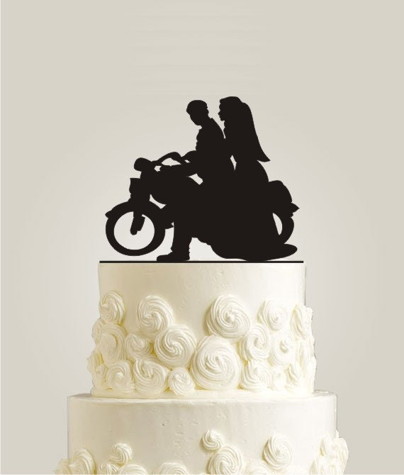 Motorcycle cake topper burlap wedding cake topper bike cake topper