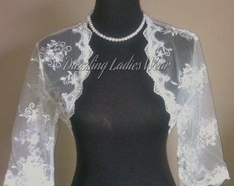 Embroidered Floral Lace Bolero 3/4 Sleeves / Shrug / Wedding Cropped Jacket / Wrap / Shawl - UK 6-28 - Colours available : Ivory, White