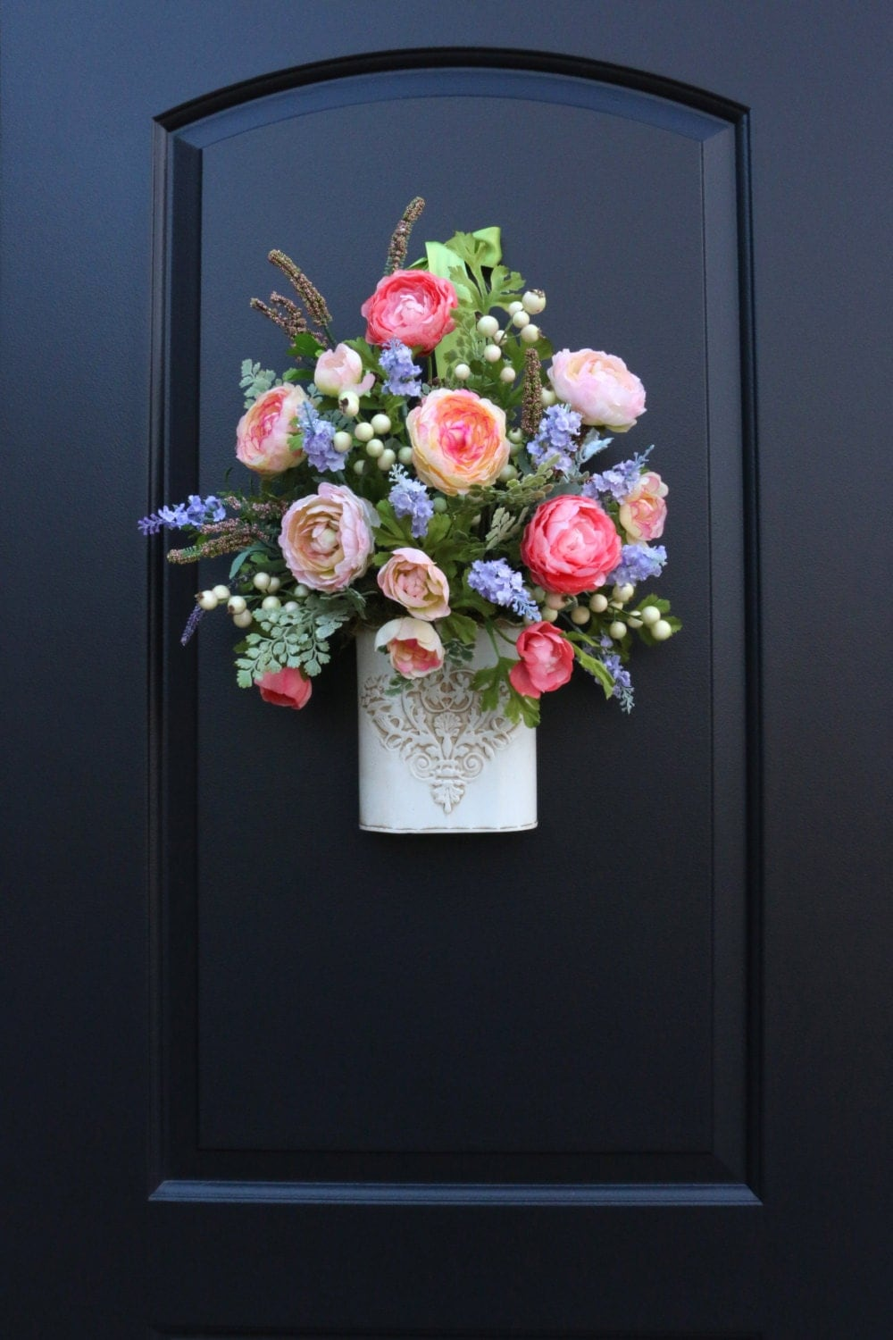 Spring floral door pocket mixed flowers basket by Spring flower arrangements for front door
