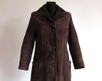 Vintage Brown Shearling Sheepskin Soft Women's Midi Coat Jacket Size M