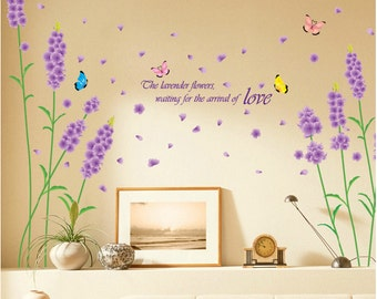 Lavender wall decals Lavender wall stickers vinyl wall decals butterfly decal  Stickers Removable decorative bedroom wall stickers