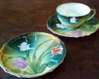 Art Nouveau R. C. Claire  Bavaria Trio Tea Cup, Saucer Cake Plate Tulips