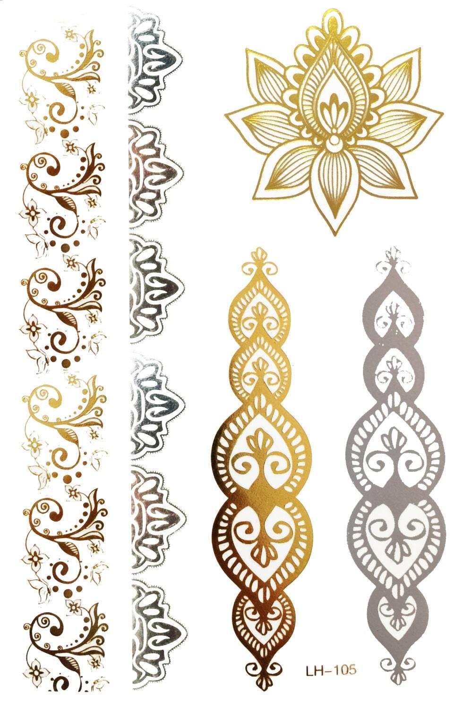 Henna Tattoo Gold : Bollywood metallic henna temporary tattoo gold by