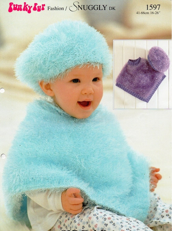 Knitted Beret Pattern Toddler : Baby Knitting Pattern Baby Furry Poncho Beret Baby Poncho