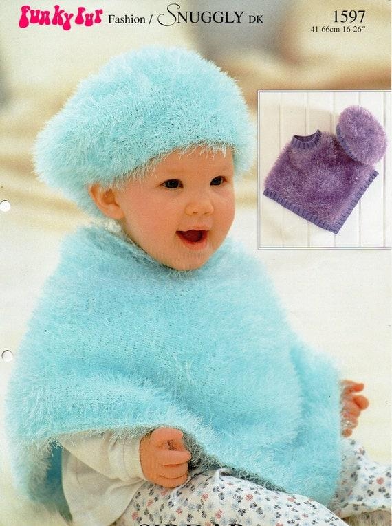 Baby Knitting Pattern Baby Furry Poncho Beret Baby Poncho