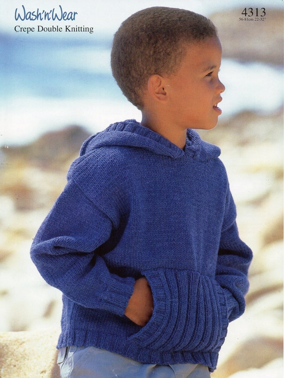 Knitting Patterns Childrens Jumpers : Childrens Hooded Sweater Knitting Pattern Hooded Jumper Front