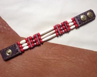 Indian bracelet bones  3 rows red  ref: B 90