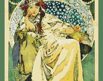 Hyacinta by Alphonse Mucha Cross Stitch Pattern in PDF for Instant Download