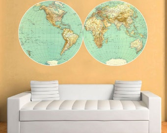 World Map Vintage Decal - Large World Map Retro Vinyl Wall Sticker - World Map Wall Sticker - SKU: ReVinWoMaST.