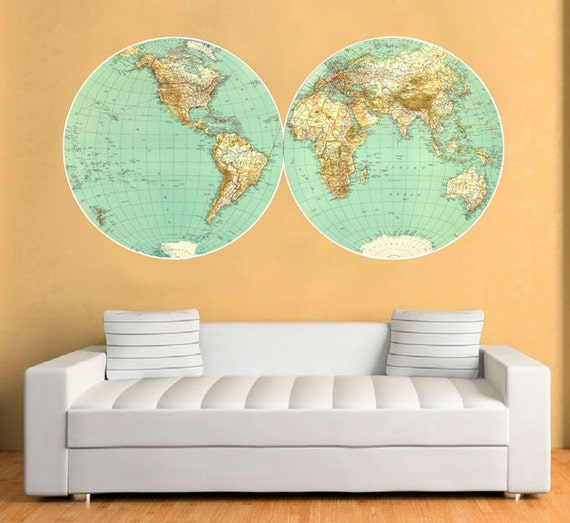 World Map Vintage Decal Large World Map Retro Vinyl Wall