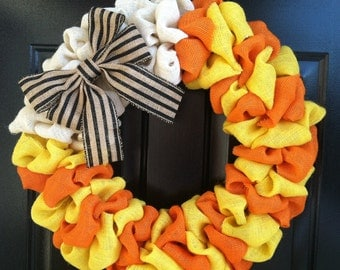 Candy Corn Wreath, Fall Burlap Wreath, Halloween Burlap Wreath, Orange, Yellow, and White Burlap and Natural and Black Striped Bow