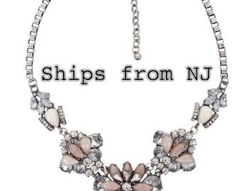 bib necklace, statement necklace, Crystal Flower Bib Necklace. inspired statement necklace.