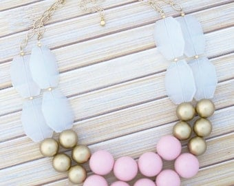 Blush Pink & Gold Statement Necklace, Bubble Layering Chunky Necklace, Pastel Pale Pink Color Block Colorblock Necklace, Bridal Necklace
