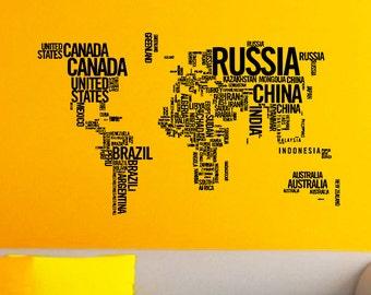vinyl wall art world map of earth