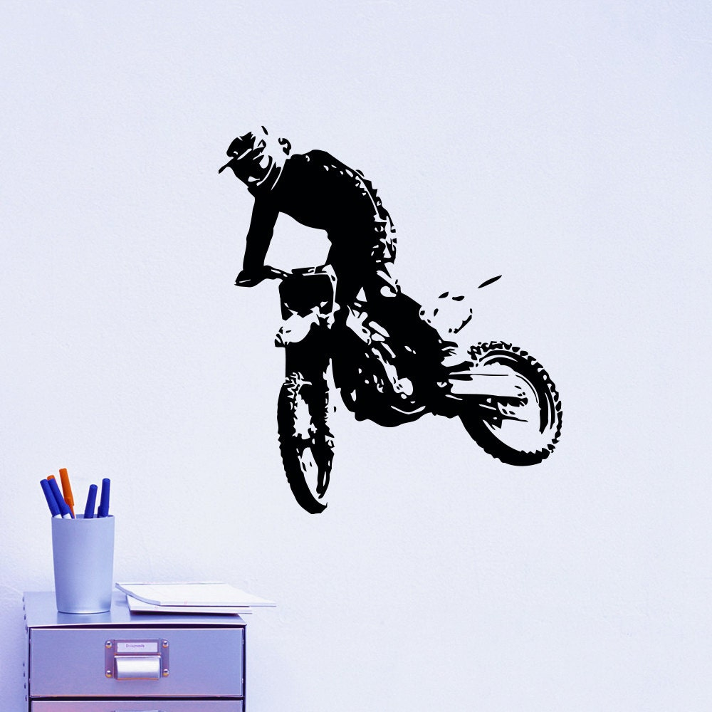 Motorcycle wall decal motocross moto dirty bike motorbike for Dirt bike wall mural