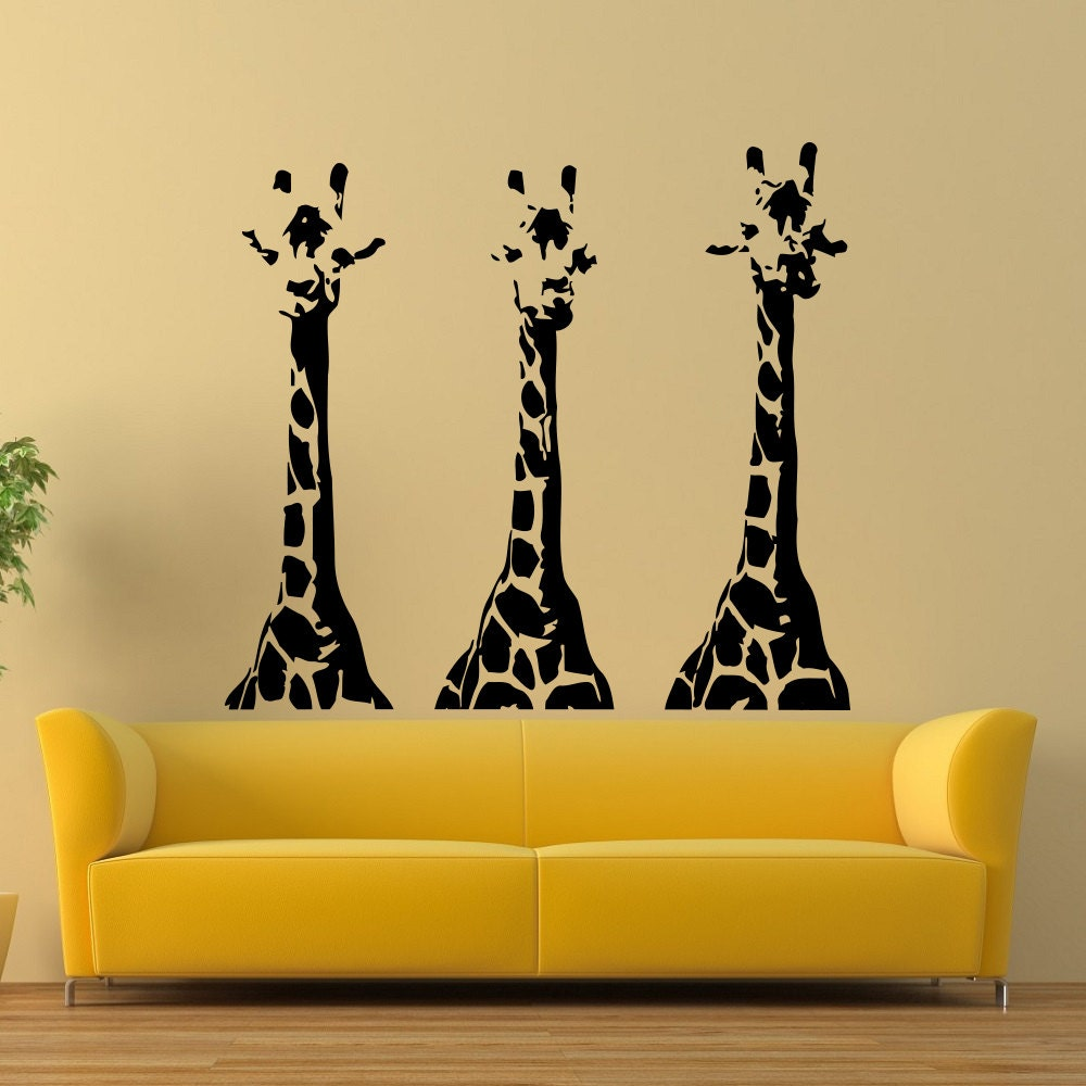 Giraffe wall decal wild animals jungle safari wall decals for Animal wall mural