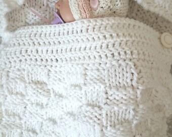 baby sleep bag- photo prop- newborn gift- white blanket- baby shower- baby gift ideas