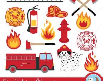 Firefighter Clipart - Fireman Clipart - Fire Station - Fire House - Firefighter - Set of 14 Digital Clipart Designs