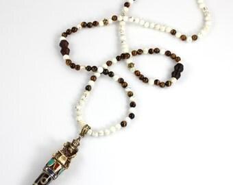 Brass Buddha Pendant Beaded Necklace / Boho Necklace / Mala Bead Necklace