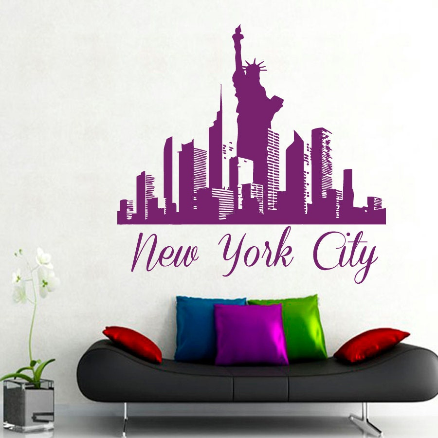 Ny wall decals new york city stickers skyline by for Sticker mural new york