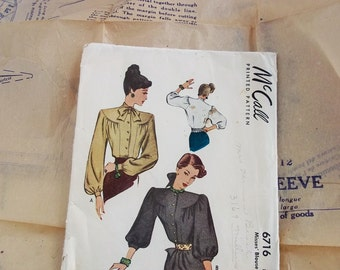 Vintage Pattern, McCall Blouse Pattern 1946 Misses Shirt Pattern 6716, Seamstress Supply, Unique Art Supply, Craft Repurpose Supply