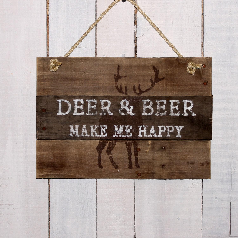 Hunters Man Cave Signs : Christmas gift for dad deer beer make me happy painted