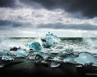 "Iceland Jökulsárlón Glacial Icebergs on Black Sand Beach ""Blue Ice, Black Sand II"" Paper Print - Landscape Photography"