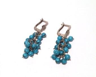 Vintage Earrings Grapes- turquoise Earrings - vintage jewelry - Antique Earrings