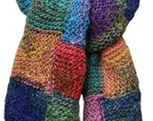 Hand Knit Scarf  - Breath of Spring Patchwork Yellow Green Blue Purple in Silk, Mohair and Wool