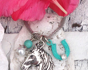Turquoise and Pearl HORSE NECKLACE, HoRsE JeWeLrY, HOrsE PenDant, Equestrian Jewelry, Horseshoe NeCklace, HoRSe Charm NECklace