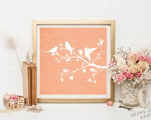 Printable art Bird wall art print 8x8 square print Coral bird nursery printable Bird digital art Orange and white nursery decor Bird decor