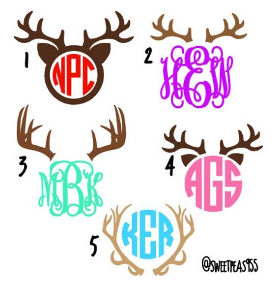 deer antler monogram country monogram deer antler decal