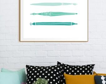 Mint Green Print, Aquamarine Green Print, Aquamarine Print, Aqua Green Print. Vintage Pen Calligraphy Nibs, Antique Calligraphy Pens Print