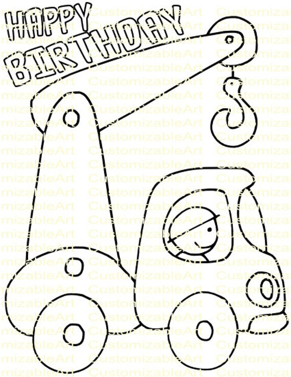 birthday themed coloring pages - construction party favor crane truck construction birthday