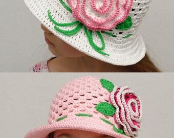 Girls hats photo props Floral Crochet summer hat Girls sun hat with rose Girls summer hat brim hat Crochet hat Beach hat girls accessories