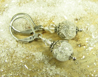 Earrings of icy spell, winter earrings, Silver earrings, earrings of Crackleglas snow Christmas, vintage style handmade