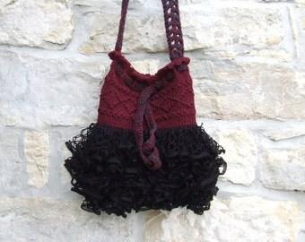 Knitted handbag,  knitted purse,   frilled  handbag, knitted bag,  knitted shoulder bag,  Knitted burgundy and black frilled shoulder bag