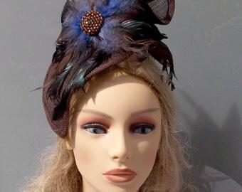 Brown Headpiece, Wedding Headpiece, Feathers Headpiece, Wedding Hat, Fascinator, Womens Hat, Womens Accessories, Wedding Accessories